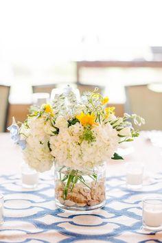 Nautical wedding centerpiece idea - white + yellow flower centerpiece on white + blue table runner {Riverland Studios}