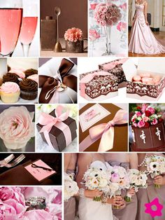 Now, I'm not big on brown, but I must say, I'm really digging Brown, Taupe or ivory, Gold with blush flowers/accents.  Wedding | Theme | pink and chocolate