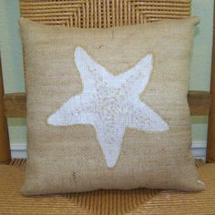 Starfish pillow Shell pillow Beach pillow by KelleysCollections