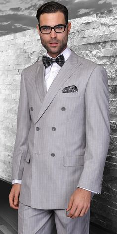 Statement Italian Wool Double Breasted Suits Grey Pinstripe TZD-300