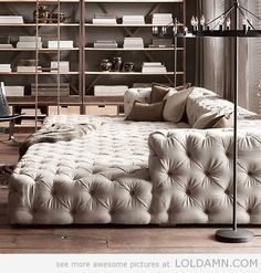 The tufted movie pit couch that could take up your entire living room, as far as you're concerned. The tufted movie pit couch that could take up your entire living room, as far as you're concerned.