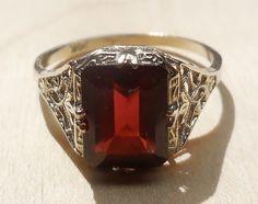 Vintage Antique 2ct Dark Red Garnet 14k White Gold Alternative Engagement Ring 1920's Art Deco Gothic by DiamondAddiction on Etsy