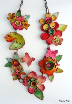 Polymer clay necklace by AnarinaAnar on Etsy                                                                                                                                                      More