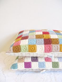 crochet cushion cover Agnes  patchwork tiny squares by emmalamb, £70.00