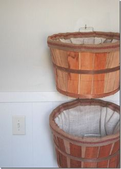 baskets for dirty laundry | Burlap-lined baskets for dirty clothes