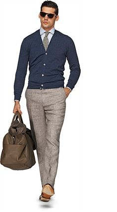 skinny khaki slacks for the man I love. Love the cardigan sweater,too. Really completes the outfit