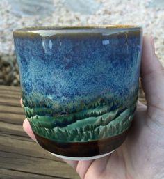 Amaco Blue Rutile, dark green and textured amber brown by Catherine Kirkpatrick