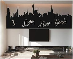 I Love New York   City Silhouette   Wall Decals