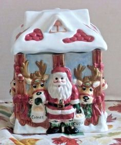 "Fitz and Floyd ""Deer Santa"" Candy Jar #FitzFloyd"