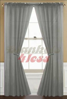 "Gray(Grey) Solid 1 Sheer Window Curtain Panel by Awad. $7.99. Washing Care: Machine Wash in cold water, gentle cycle, do not bleach, tumble dry. Note: Listing is for 1 Panel only, No Rod etc Included.. Each Panel Size: 60""Wx84""L - 1 Panels. Material: Polyester. Rod Pocket Fits Rod Size 1 ½ Inch. Beautiful Solid Color 1 Sheer Window Curtain Panel."