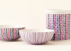 10 Mini Makeovers You Can Do in Minutes Design Your Dishes No need to wait for new sets of bowls, plates, mugs, and saucers until you can create a registry—trendier dishware is just a doodle away! Grab a Sharpie and redesign your existing (oven-safe) ceramics with a pattern of your choice, then bake at 250 degrees for 20 minutes.