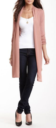 Contrast Drape Long Sleeve Cardigan