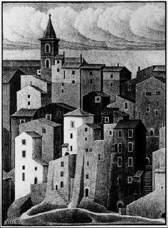 Genazzano, Abruzzi November 1929 Lithograph second state Mc Escher, Escher Art, Willy Ronis, Escher Drawings, Illustrations, Illustration Art, Dutch Artists, Art Database, Art Graphique
