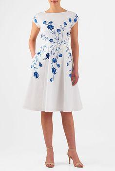 I <3 this Floral embellished cotton poplin dress from eShakti