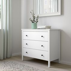 IKEA - KOPPANG, Chest of 3 drawers, white, Of course your home should be a safe place for the entire family. That's why a safety fitting is included so that you can attach the chest of drawers to the wall. 3 Drawer Dresser, 3 Drawer Chest, Dresser As Nightstand, White Chest Of Drawers, White Chests, Drawer Fronts, Furniture Companies, My New Room, Bedrooms