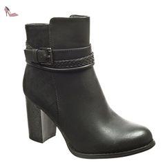 Angkorly - Chaussure Mode Bottine low boots femme lanière boucle Talon haut bloc 8 CM - Intérieur Fourrée - Noir - F933 T 40 - Chaussures angkorly (*Partner-Link)
