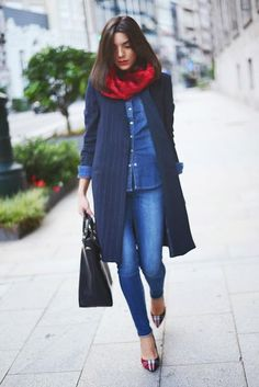 Blue coat, denim, jeans with black leather bag for fall fashion