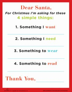 nice way to do christmas--Dear Santa Letter asking for want, need, wear, read.