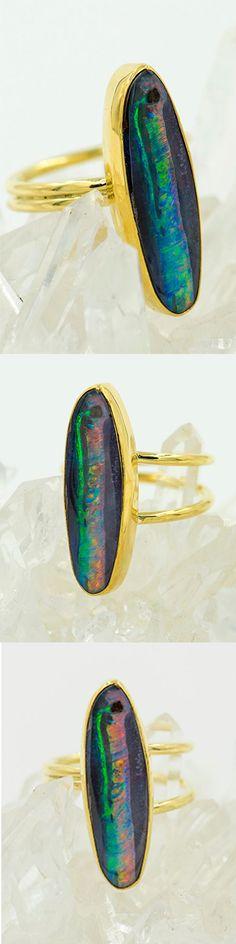 Jennifer Kalled, boulder opal ring in 22k and 18k gold . Boulder opals from Bill Kasso