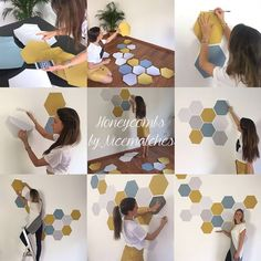 Removable Honeycomb Wall Decal, 8 Hexagon Stickers per pack, Self Adhesive Canvas Art Sticker, Watercolor Design Abnehmbare Waben Wandtattoo 8 Sechskant-Aufkleber pro Tropical Wall Decals, Removing Old Wallpaper, Grey Wall Decor, Removable Wall Stickers, Office Wall Art, Nursery Office, Watercolor Design, Diy Canvas, Canvas Art