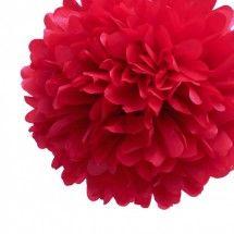 "10"" Red Tissue Paper Pom Pom"