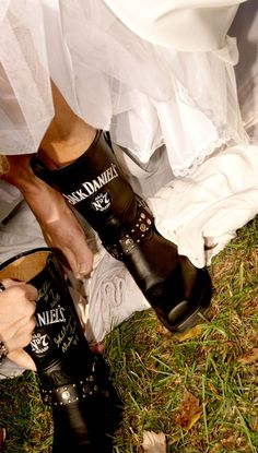 My favorite boots. Signed by Master Distiller Jeff Arnett. Yes, that is my wedding dress!