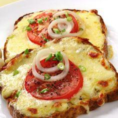 Simple Pizza Toast - bread - mozzarella cheese - cherry tomatoes - red onion- slices prosciutto - balsamic vinegar