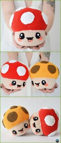 Crochet Happy Mushroom Amigurumi Paid Pattern -Amigurumi Crochet Mushroom Softies Patterns