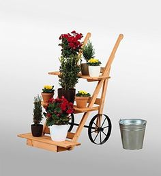 Wooden Sack Truck Garden Decoration Planter Flower Pot Display Stand Plant Patio