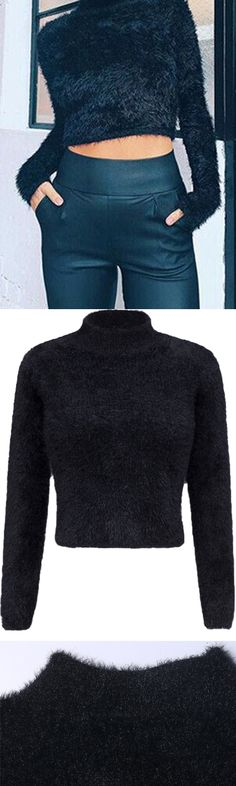 717117702f3 Winter Sweater--------Black High Neck Fluffy Cropped Knit Sweater by  Stayingsummer!