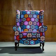 Boho / hippy home decor ideas. made in Britain. High back / flat wing chairs in the U.K Patchwork Armchair