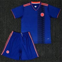 2018 World Cup Youth Kit Colombia Away Replica Blue Suit 2018 World Cup  Youth Kit Colombia Away Replica Blue Suit  e23b43969