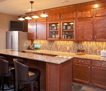 Maple bar with Buckingham Cambria countertops