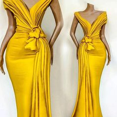 Yellow 2020 African Evening Dresses Pleats Knoted Mermaid Prom Gowns V Neck Short Sleeve Ruffles Formal Party Celebrity Gowns African Evening Dresses, Yellow Evening Dresses, Latest African Fashion Dresses, African Dress, African Formal Dress, African Party Dresses, African Wedding Dress, Dress Fashion, Mermaid Gown Prom