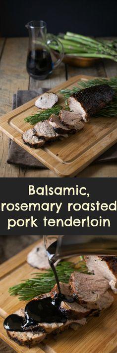 Pork tenderloin coated in balsamic glaze, fresh rosemary and roasted. An easy dinner dish.