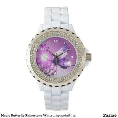 Magic Butterfly Rhinestone White Enamel Watch