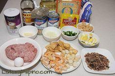 Pancit Palabok Recipe - Filipino Recipes from Lutong Filipino Pancit Palabok Recipe, Calamansi, Filipino Recipes, Fish Sauce, Cooking Oil, Serving Plates, Tofu, Noodles, Seafood