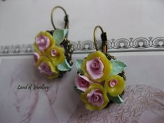 Handmade polymer clay jewellery. Antique flower polymer clay earrings