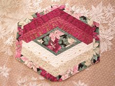 Quilted Placemat Reversible Burgundy Poinsettia by QuiltinWaYnE, $54.50
