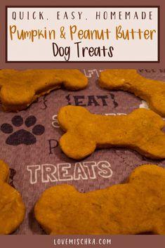 Easy Pumpkin Peanut Butter Dog Treats - Love Mischka Pumpkin Recipes For Dogs, Pumpkin Dog Treats, Diy Dog Treats, Homemade Dog Treats, Dog Treat Recipes, Healthy Dog Treats, Dog Food Recipes, Puppy Treats, Dog Food Delivery
