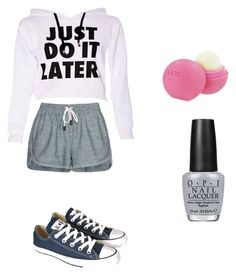 """""""Lazy Day Outfit"""" by rachealprincess123 ❤ liked on Polyvore featuring rag & bone/JEAN, Converse, Eos and OPI"""