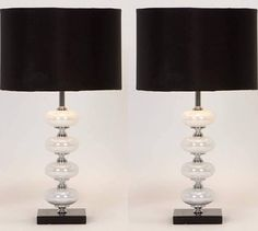 Aspire Home Accents 40023 Libby Table Lamp (Set of 2) Black / White / Silver Lamps Lamp Sets Table Lamps