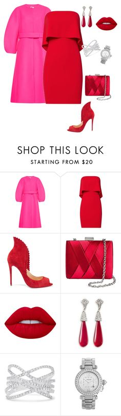 """Untitled #159"" by stylistrr ❤ liked on Polyvore featuring Delpozo, Jay Godfrey, Christian Louboutin, Tevolio, Lime Crime, Kenneth Jay Lane, Effy Jewelry and Cartier"
