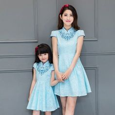 2017 new light blue mother and daughter dress family clothes long qipao traditional chinese clothing cheongsam dresses for girls