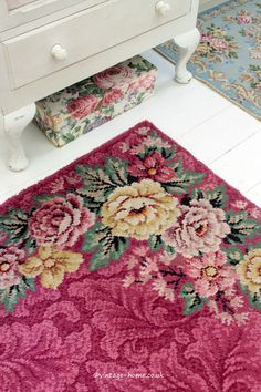 Vintage Home Shop - Pretty 1930s Floral and Foliate Raspberry Wool Rug: www.vintage-home.co.uk