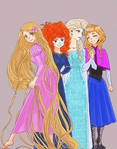 Rapunzel Merida Elsa and Anna by Jackclamp.deviantart.com on @deviantART