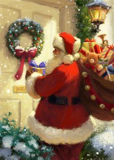 Christmas Globes, Merry Christmas Santa, Christmas Night, Victorian Christmas, Vintage Christmas Cards, Santa Christmas, Christmas Wreaths, Father Christmas, Xmas