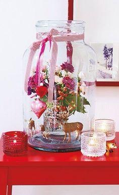 Christmas decorating with mason jars and Iittala Kastehelmi votives.
