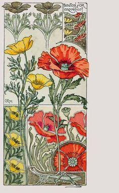 MetroPostcard List of Postcard Artists and Illustrators R Fleurs Art Nouveau, Motifs Art Nouveau, Art Nouveau Flowers, Art Nouveau Pattern, Art Nouveau Design, Vintage Botanical Prints, Botanical Art, Art Deco, Art Nouveau Illustration