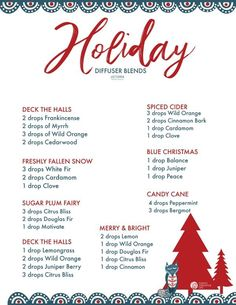 I know you've been enjoying the printable Essential Oil Diffuser Blends for Winter, but I thought perhaps you'd like a more specific list of Essential Oil HOLIDAY Diffuser Blends for Christmas and New Years. You're going [. Essential Oils Christmas, List Of Essential Oils, Essential Oil Diffuser Blends, Essential Oil Uses, Cardamom Essential Oil, Doterra Diffuser, Diffuser Recipes, Doterra Essential Oils, Essential Oils